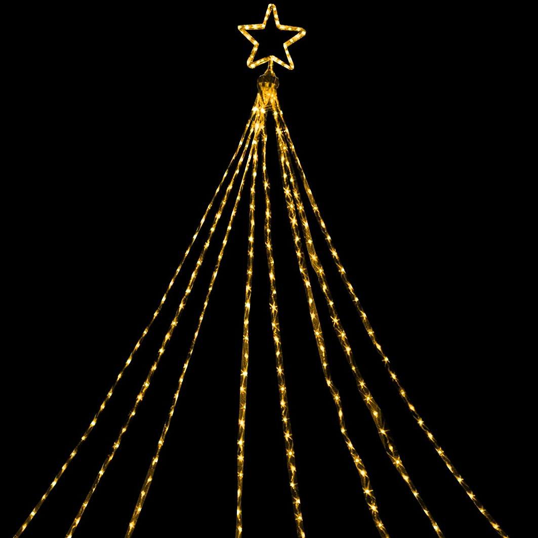 地質学不倫最悪電光ホーム イルミネーション ドレープライト LED [ 8パターン 点灯 ] 屋外 防水 防雨 星モチーフ付き クリスマスツリー ハロウィン DIY 3.5m×8本 (ゴールド)