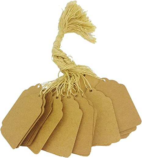 , Kraft 1 x 3//8 Price Tags 10mm x 24mm 100 Pcs of Paper String Tags Elegant Jewelry String Tags Perfect for Gifts or Business
