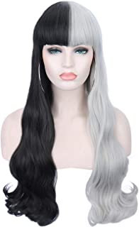 "Sotica 26"" Long Wavy Curly Wigs 2 Tones Half Black and Half Silver White Wigs with Flat Hair Bangs Natural Looking Heat Resistant Synthetic Full Hair Wigs for Women"