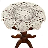 gracebuy Beige 39 Inch Round 100% Handmade Crochet Lace Tablecloth Doilies