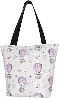 Lesif Einkaufstaschen, Wasserfarben, Baby-Elefant, Cartoon, süßes Tier, lila, Segeltuch, Umhängetasche, Einkaufstasche, wiederverwendbar, faltbar, Reisetasche, groß und langlebig, robuste Einkaufstaschen