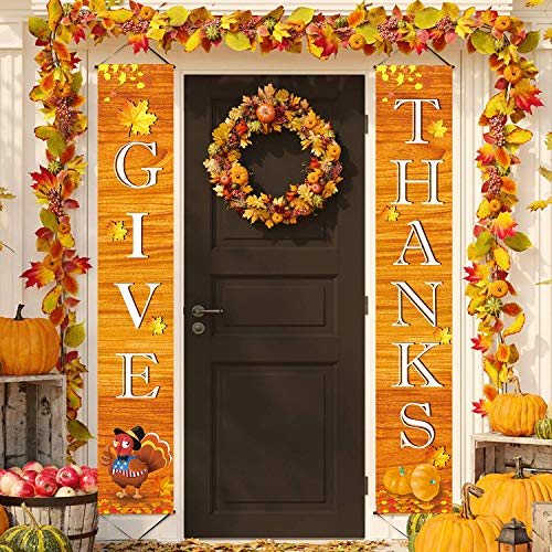 Fecedy 72x12 GIVE THANKS Hanging Banner Porch Sign Autumn Pumpkin Maple Leaf Backdrop Flag Fall Harvest Welcome Banner For Home Yard Indoor Outdoor Wall Door Thanksgiving Party Decorations (Style 1)