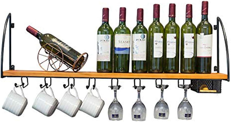 Solid Wood Wall Hanging Wine Rack, Wall Shelf, Bar Restaurant Wall Hanging Wine Glass Rack, Wrought Iron Wine Rack (Size   100cm)