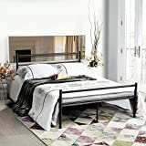 GreenForest Metal Bed Frame Twin Size, Two Headboards 6 Legs Mattress Foundation Black Platform Bed Frame Box Spring Replacement for Boys Kids Adult Bedroom