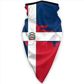 Dominican Republic Flag Map Face Mask Neck Gaiters Bandana Scarf Balaclava Multifunctional Headwear for Outdoor Sports Black