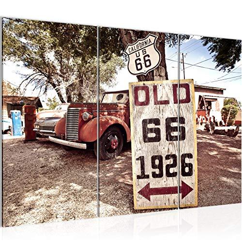 Bilder Vintage Auto Route 66 Wandbild 120 x 80 cm Vlies - Leinwand Bild XXL Format Wandbilder Wohnzimmer Wohnung Deko Kunstdrucke Rot 3 Teilig - MADE IN GERMANY - Fertig zum Aufhängen 609831a