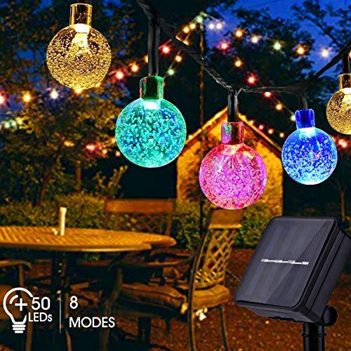 Solar Lichterkette Außen FOCHEA 7M 50er LED Solar Lichterkette Kristall Kugeln 8 Modi IP65 Wasserdicht Solarbetriebene Lichterkette Außenlichterkette Garten Lichterkette für Partys