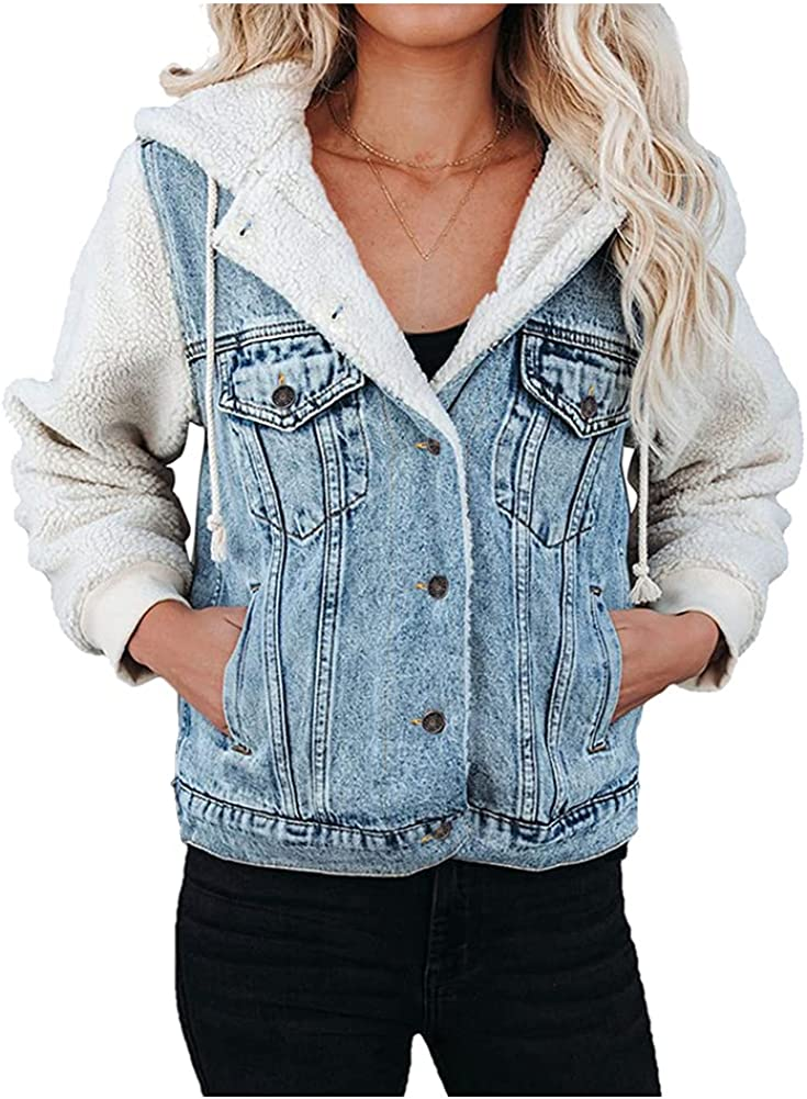 Kedera Womens Fleece Denim Jackets Long Sleeve Button Up Patchwork Hooded Coat with Pockets