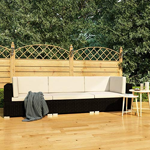 UnfadeMemory Conjunto de Sofás Exterior de Jardín con Cojines,Muebles Terraza Exterior,Ratán Sintético (Negro y Blanco Crema, 3 Piezas)
