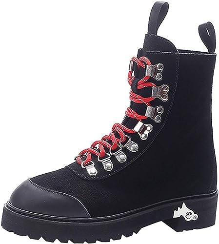 Qiusa Chaussures de marée Femme Bottes Martin personnalisées (Couleuré (Couleuré   Noir, Taille   36EU)  profiter de vos achats