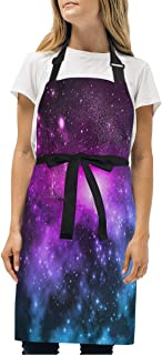 YIXKC Apron Colorful Galaxy Pictures Adjustable Neck with 2 Pockets Bib Apron for Family/Kitchen/Chef/Unisex