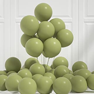 Honinda Olive Green Latex Balloons Sage Green Balloons 12 Inch 50pcs Green Helium Balloons for Baby Shower Supplies Woodla...