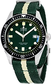 Oris Divers Sixty-Five Mens Luminous Diving Automatic Watch - Green Face Green NATO Fabric Band Swiss Made Automatic Dive Watch For Men 01 733 7720 4057-07 5 21 24FC