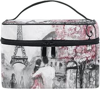 Cosmetic Bag Eiffel Tower Lover Painting Women Makeup Case Travel Storage Organizer