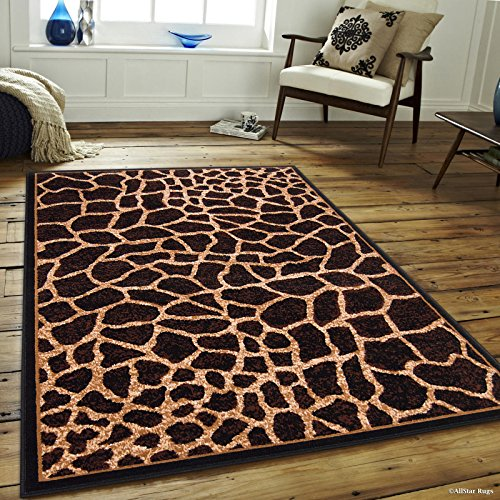 "Allstar 5 X 7 Brown with Beige Woven Jungle Vibe Giraffe Skin Printed Area Rug (5' 2"" X 7' 1"")"