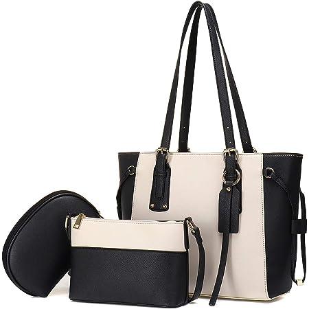 JOSEKO Damen-Handtasche, Umhängetasche, großes Motiv, Tasche für Mütter, 3-teiliges Set, elegant, prägnant und großzügig, Weiß / Schwarz, 40.5cmx 12.5cm x 27cm