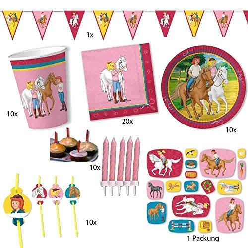 Firlefantastisch Bibi und Tina Party-Set für 10 Kinder // Bibi und Tina Geburtstagsdeko für 10 Kinder mit Teller + Becher + Servietten + Trinkhalme + Konfetti