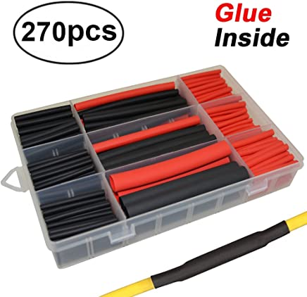 270pcs 3:1 Dual Wall Adhesive Heat Shrink Tubing Kit, 5 Sizes (Diameter): 3/8, 1/4, 3/16, 1/8, 3/32 inch, Marine Wire Cable Sleeve Tube Assortment with Storage Case for DIY by MILAPEAK (Black & Red)
