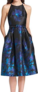 Women's Dress A-Line Belted Floral-Print