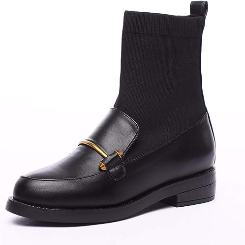 HBDLH Chaussures pour Femmes Les Bottes De Fond Plat Martin 4 La Hauteur du Talon à Canon Court Simple Bottes Les Boucles Les Talons De Chaussures épaisses Court