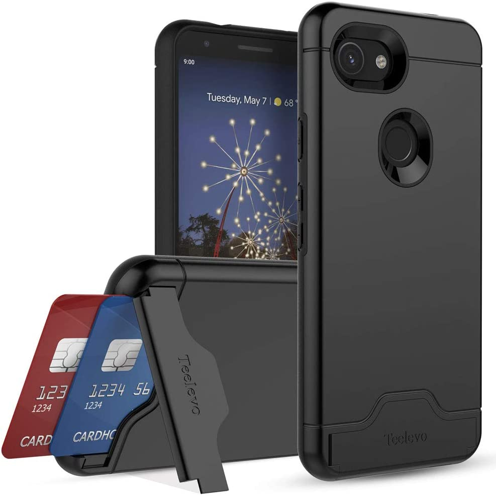 Teelevo Wallet Case for Google Pixel 3a, Dual-Layer Case with Hidden Card Storage and Integrated Kickstand for Google Pixel 3a, Black