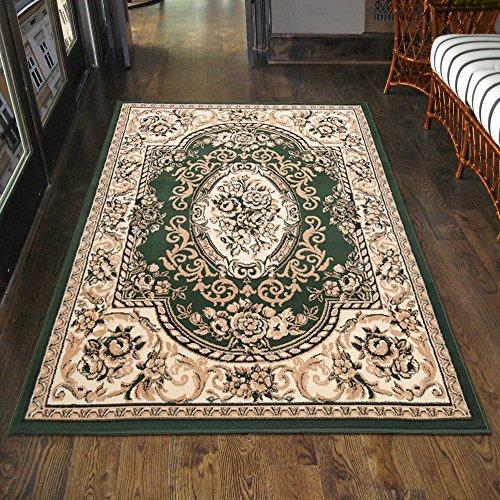 Klassischer Orientteppich & Perserteppich mit Orientalisch Ornamente Muster Kurzflor in Grün / TOP Preis - ÖKO TEX (70 x 130 cm)