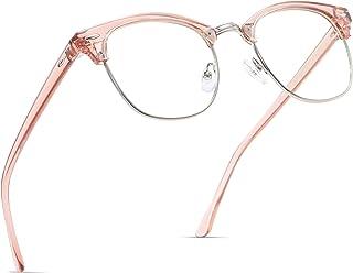 AOMASTE Blue Light Blocking Glasses Vintage Half Frame UV Clear Lens Anti Eyestrain Computer Gaming Glasses for Women