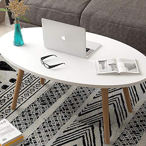 KaminHome - Mesa Centro salón Marcus Ovalado Blanco de Madera diseño nórdico escandinava Moderno para hogar Oficina área Descanso Patas Madera (100 cm x 50 cm x 42 cm)