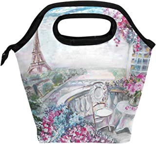 Mydaily Lunch Box Eiffel Tower Flower Painting Reusable Insulated School Lunch Bag for Women Kids