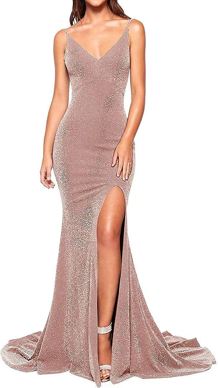 LINDO NOIVA Women's Long Deep V Neck Prom Dresses Sparkly Glitter Mermaid Evening Gowns LPM51