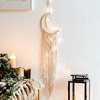 zhengshizuo Moon Dream Catcher with Lights Girls Room Decor Boho Tapestry Macrame Wall Hanging Dreamcatcher Girl Wall Deco...