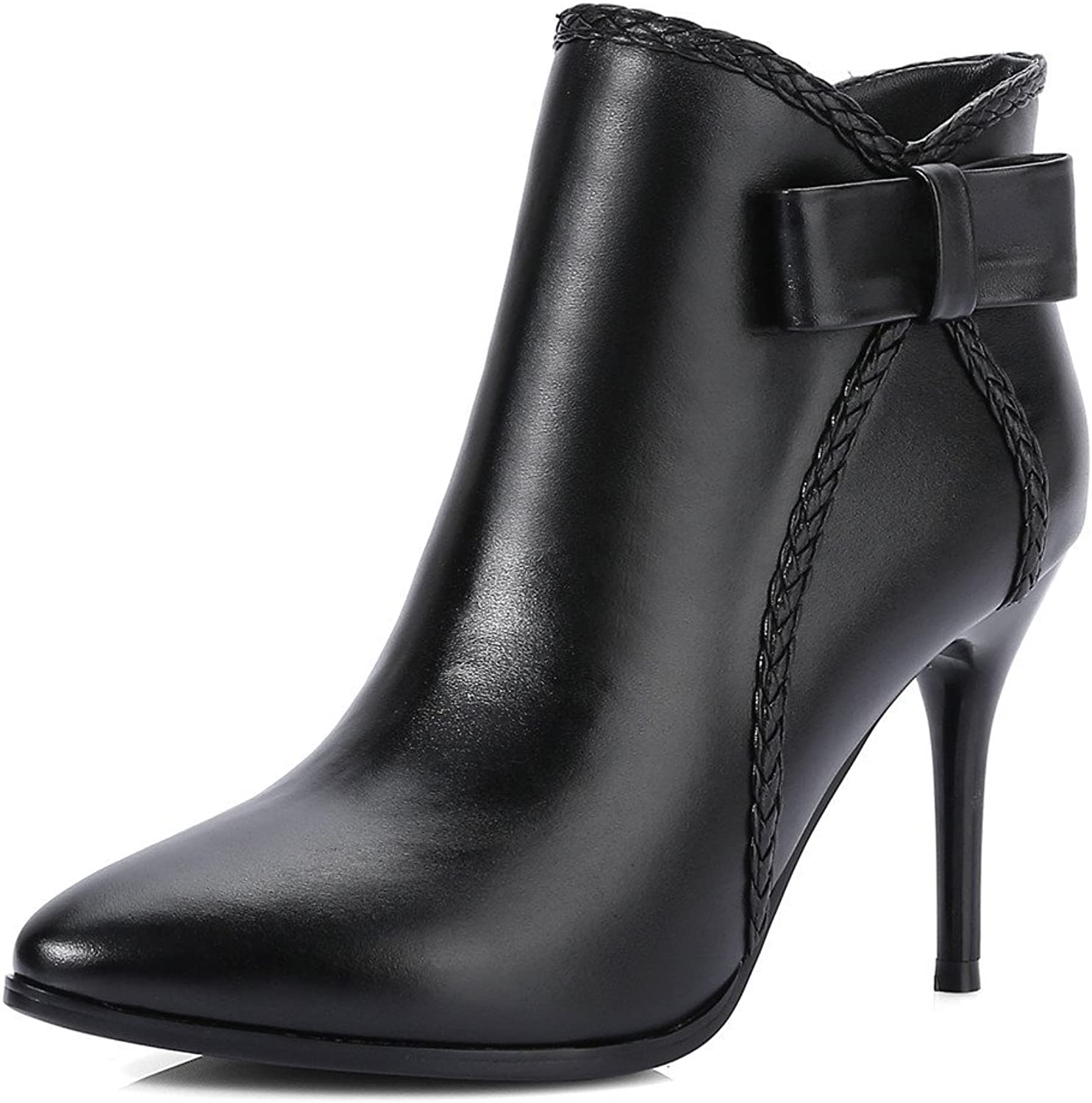 Nine Seven Genuine Leather Women's Pointed Toe Stiletto High Heel Elegant Fashion Handmade Dress Ankle Boot with Bow