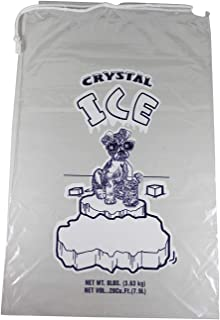Pinnacle Mercantile 8 lb. Drawstring Ice Bags (100-Count) Heavy-Duty, Puncture-Resistant EVA | Cotton Pull Closure | Disposable, Recyclable | Portable Storage and Freezer Keeper