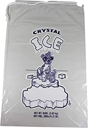 Pinnacle Mercantile 8 lb. Drawstring Ice Bags (30-Count) Heavy-Duty, Puncture-Resistant EVA | Cotton Pull Closure | Disposable, Recyclable | Portable Storage and Freezer Keeper