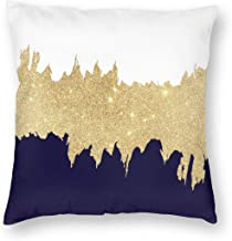 Emliyma Modern Navy Blue White Faux Gold Throw Pillow Covers Decorative Cotton Cushion Cover Outdoor Sofa Home Pillow Cove...