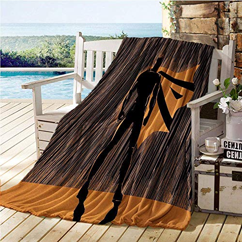 Annays Blanke Reisdeken Hero In Vermomming Bij Nacht Met Super Powers Handgetekende Stijl Spier Mannen Print Bed Air Conditioner Oranje Zwart Fleece Deken 102X127Cm Gooi Deken Patroon