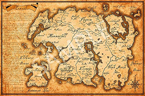 Posters Store - Elder Scrolls Map of Tamriel Poster 12x18inch(30x45cm)