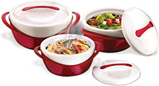 Pinnacle Thermoware 3 Pc. Set Casserole Dish - Large Soup and Salad Bowl Set - Insulated Serving Bowl With Lid - Great Bowl for Holiday, Dinner and Party - 2.6 qt. 1.25 qt. .6 qt. - Red