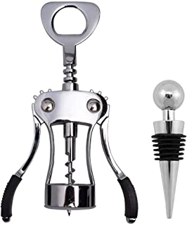 Ilyever Premium Stainless Steel Red Wine Beer Bottle Opener Wing Corkscrew Screwpull Cork Remover Accessories with One Pc Reusable Vacuum Wine Bottle Stoppers Set