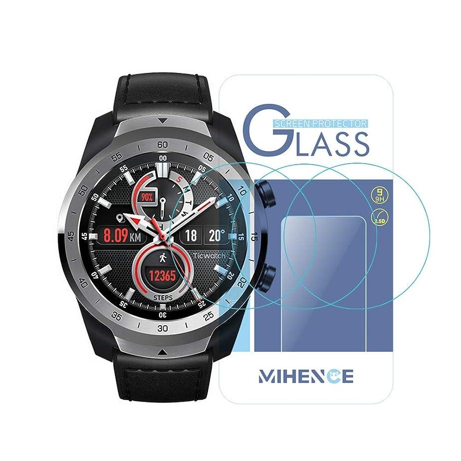 カートリッジラッチ喪(3枚) For Ticwatch Pro Smartwatch 保護フィルム,MIHENCE 9H ガラス保護フィルム 対応 Ticwatch Pro Smartwatchスマート腕時計 2.5Dラウンドエッジ ウォッチ指紋防止保護膜