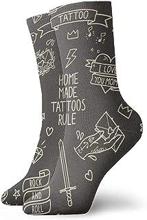 Kevin-Shop, Old School Tattoo Factores Dibujos Animados Signos Símbolos Clásicos Calcetines de compresión Sport Athletic Crew Calcetines