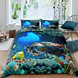 Kids 3D Turtle Bedding Set Twin Seaweed Sea Blue Duvet Cover Ocean Corals Fishes Comforter Cover for Teens Boys and Girls Sealife 3Pcs Quilt Bedspread Set with Zipper,Corner Ties,Envelope Pillowcases
