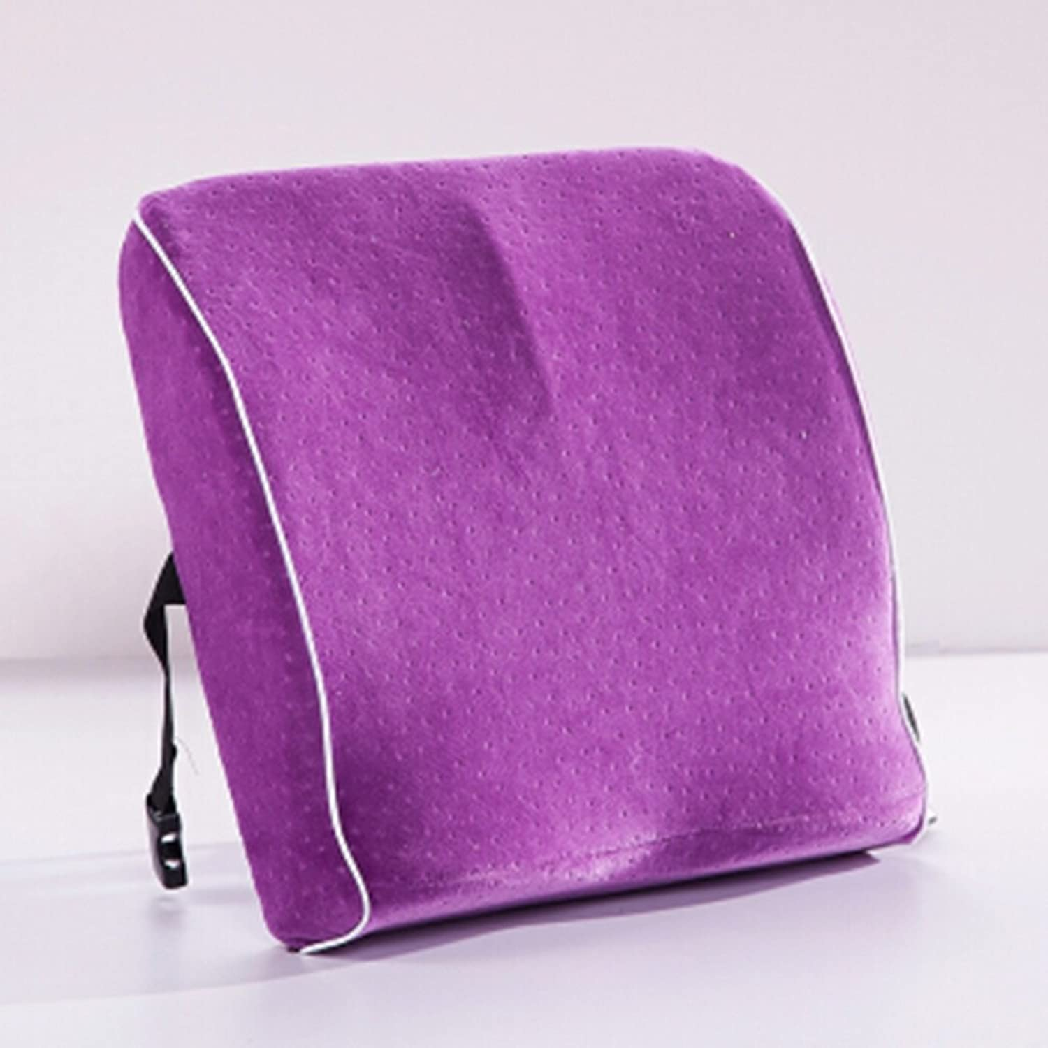 HAIYING Lumbar Back Support Cushion For Back Spine Pain Relief – Soft Foam With Firm Support Portable Adjustable. Great For Home, Office, Car 4040CM ( color   Purple )