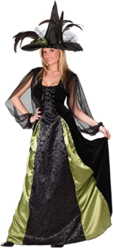 Damen Deluxe kn ellang Deluxe GOTHIC-HEXE Halloween Kostüm Kleid Outfit - Schwarz Schwarz 10-12
