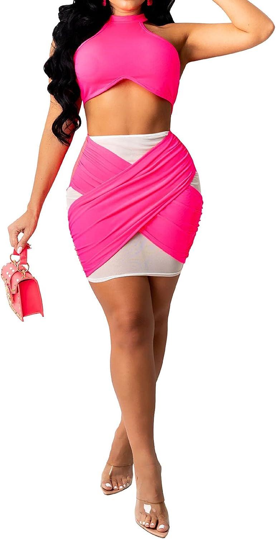 Women's Sexy 2 Piece Sets - Mesh See Through Sleeveless Asymmetric Bodycon Mini Tank Dress Party Clubwear