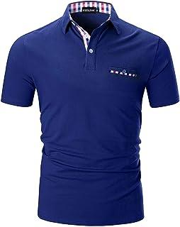 STTLZMC Mens Casual Short Sleeve Poloshirt with Fashion Plaid Splice T-Shirt