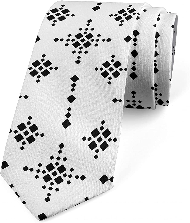 Ambesonne Men's Tie, Square Shapes Retro Effect, 3.7