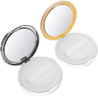 Lurrose 2Pcs Caixa Vazia Recipiente de Pó Solto Compacto Portátil DIY Caso Com Espelho E Esponja de Maquiagem Cosméticos E...