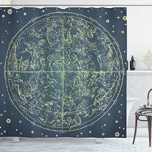 """Ambesonne Space Shower Curtain, Vintage Zodiac Chart Constellation of Northern Stars Astrology Image, Cloth Fabric Bathroom Decor Set with Hooks, 84"""" Long Extra, Blue Yellow"""