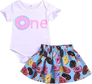 Remanlly Short Sleeve Print Romper + Donut Print Skirt outfit Summer Infant Baby Girls Jumpsuit Clothes Bodysuit Clothes Summer Outfits Casual T shirt tops dress
